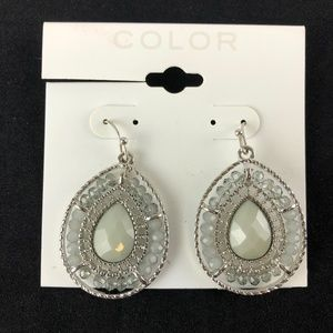 Sonoma Kohls Earrings Silver-tone Grey Beaded